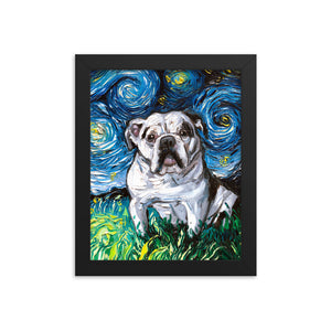 English Bulldog Night, White with Black Marks Framed Photo Paper Poster