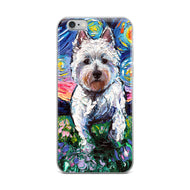Westie Flowers Starry Night iPhone Case
