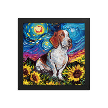 Load image into Gallery viewer, Basset Hound with Sunflowers Starry Night Framed Photo Paper Poster