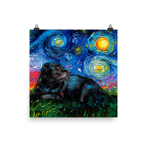 Black Labrador Night 5 Matte Poster Print