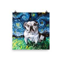 Load image into Gallery viewer, English Bulldog Night, White with Black Marks Matte Poster Print