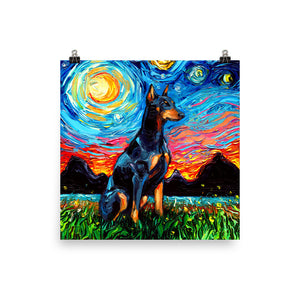 Doberman Night Matte Poster Print