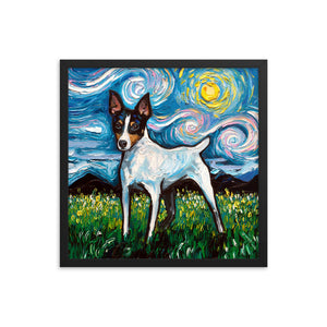 Toy Fox Terrier Night, Framed Photo Paper Poster