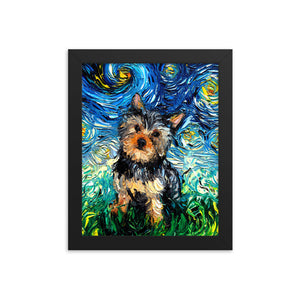 Yorkie Night Framed Photo Paper Poster
