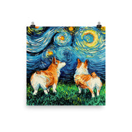 Corgi Night Matte Poster Print