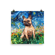 Fawn French Bulldog Night Matte Poster Print