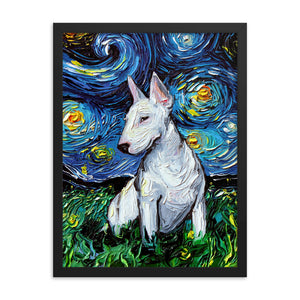 Bull Terrier Night Framed Photo Paper Poster