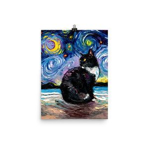Tuxedo Cat Night 2, Matte Poster Print
