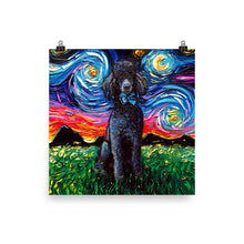 Load image into Gallery viewer, Poodle Night, Black, Matte Poster Print