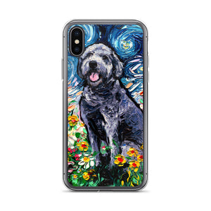 Gray Labradoodle Night iPhone Case