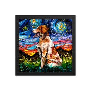 Brittany Spaniel Night Framed Print