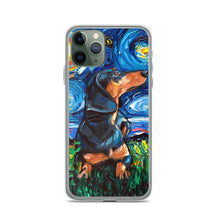 Load image into Gallery viewer, Dachshund Night, Black and Tan Short Hair iPhone Case