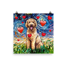 Load image into Gallery viewer, Goldendoodle Night with Hearts Matte Poster Print