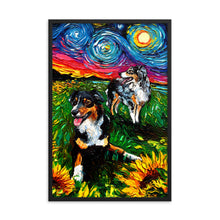 Load image into Gallery viewer, Starry Australian Shepherds Framed Print