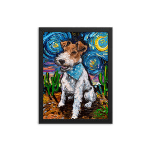 Wire Fox Terrier Night Framed Photo Paper Poster