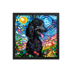Poodle Night, Black 2, Framed Print