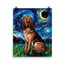 Load image into Gallery viewer, Bloodhound Night Matte Poster Print