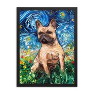 Fawn French Bulldog Night Framed Photo Paper Post