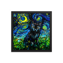 Load image into Gallery viewer, Black Cat Night 3 Starry Night Framed Photo Paper Poster