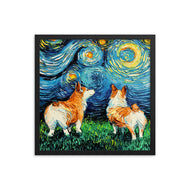 Corgi Night Framed Print