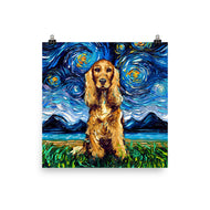 Cocker Spaniel Night, Golden Version Matte Poster Print