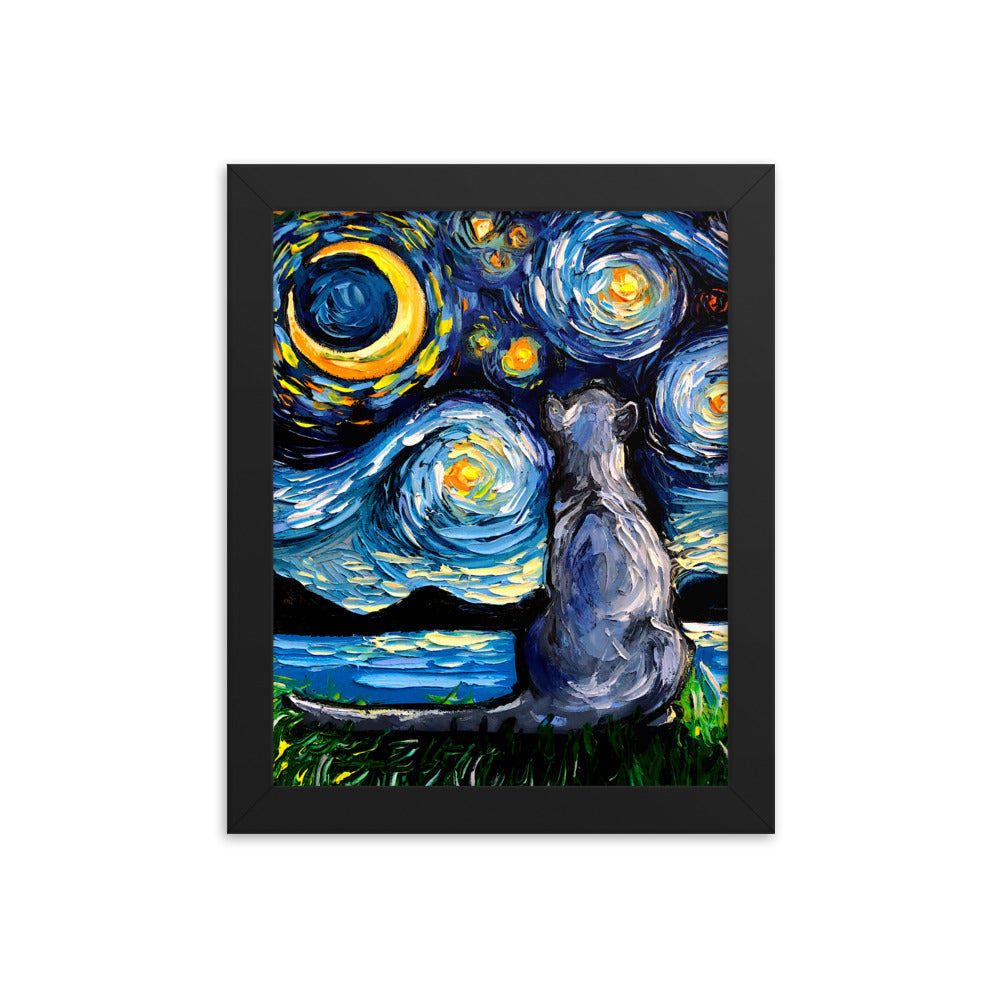 Russian Blue Night Framed Print