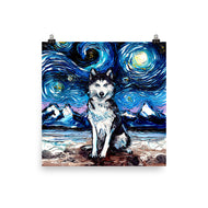 Husky Night Matte Poster Print