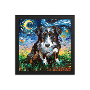 Australian Shepherd Night Framed Photo Paper Poster