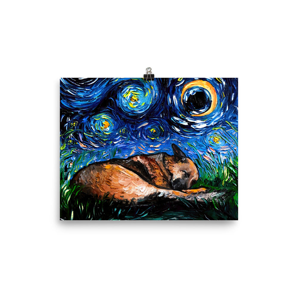 German Shepherd Night, Sleeping Matte Poster Print