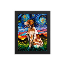 Load image into Gallery viewer, Brittany Spaniel Night Framed Print