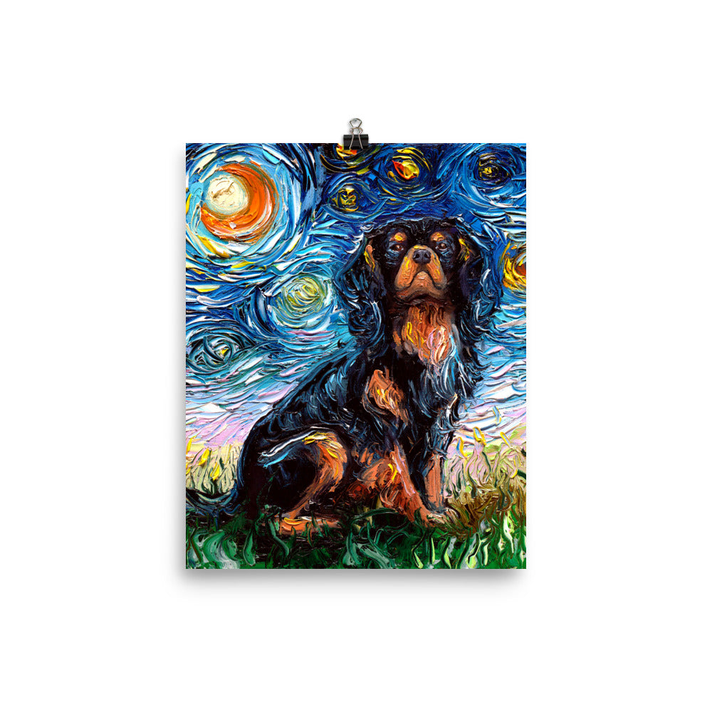 Cavalier King Charles Spaniel Night, Black and Tan Matte Poster Print