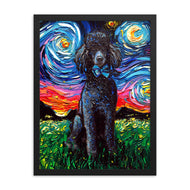 Poodle Night, Black, Framed Print