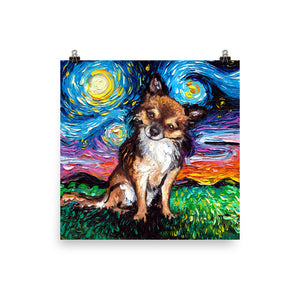 Chihuahua Night, Long Hair Matte Poster Print