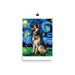 German Shepherd Night 2 Matte Poster Print