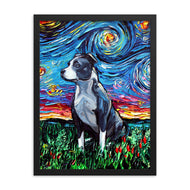 Pitbull Night Framed Photo Paper Poster