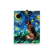 German Shepherd Night Matte Poster Print