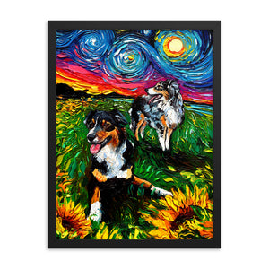Starry Australian Shepherds Framed Print
