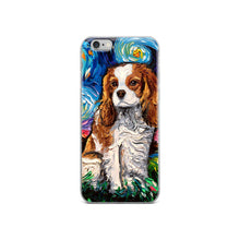 Load image into Gallery viewer, Cavalier King Charles Spaniel Night, Blenheim iPhone Case