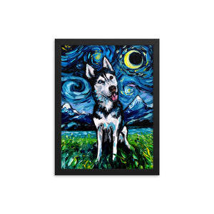 Happy Husky Night Framed Print