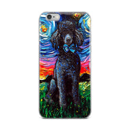 Poodle Night, Black, iPhone Case