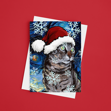Load image into Gallery viewer, Tabby Cat Night Christmas Greeting Card