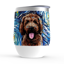 Load image into Gallery viewer, Goldendoodle Night, Brown, Stemless Wine Tumblers
