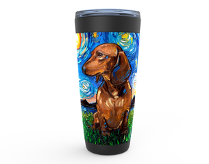 Dachshund Night, Brown Short Hair, Viking Tumbler