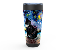 Load image into Gallery viewer, Tuxedo Cat on Beach Starry Night Viking Tumbler