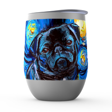Load image into Gallery viewer, Pug Night, Black, Stemless Wine Tumblers