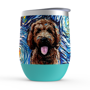Goldendoodle Night, Brown, Stemless Wine Tumblers