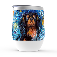 Load image into Gallery viewer, Cavalier King Charles Spaniel Night, Black and Tan, Stemless Wine Tumblers