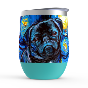 Pug Night, Black, Stemless Wine Tumblers