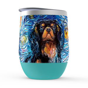 Cavalier King Charles Spaniel Night, Black and Tan, Stemless Wine Tumblers
