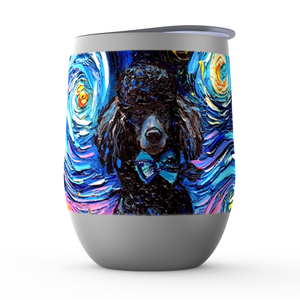 Poodle Night, Black, Stemless Wine Tumblers
